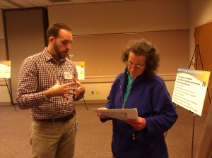 Justin Leighton and Meg Herring discuss her transit needs.