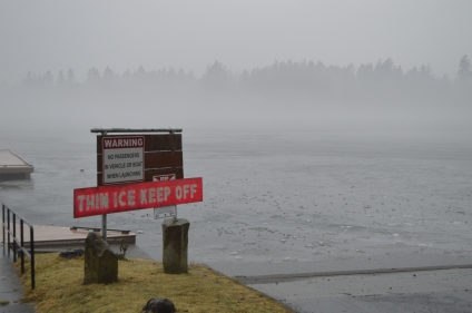 The ice on Spanaway Lake has only been about 2.5 inches thick. It's not strong enough for safe walking.