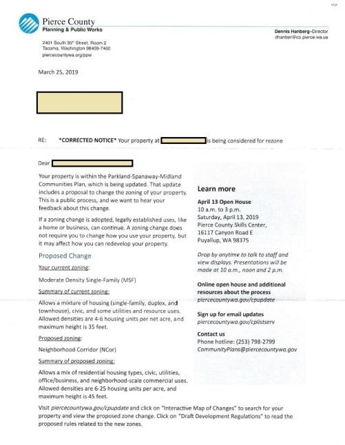 Zoning Change Correction Notice