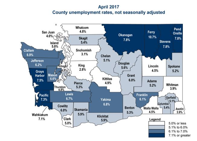 April 2017 Unemployment by County